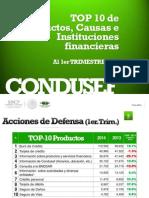 TOP 10 de Productos, Causas e Instituciones Financieras Al 1er TRIMESTRE 2014