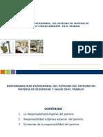 RESPONSABILIDAD PATRIMONIAL  DEL PATRONO EN  MATERAI DE  CONDICIONES Y MEDIO AMBIENTE  EN EL TRABAJO.ppt