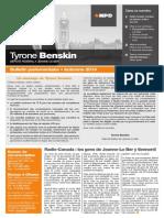Automne 2014 — Bulletin parlementaire de Tyrone Benskin, version française