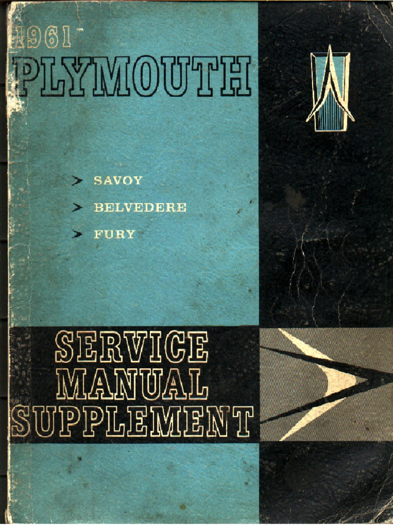 1961 Plymouth Service Manual Supplement | Brake | Manufactured Goods