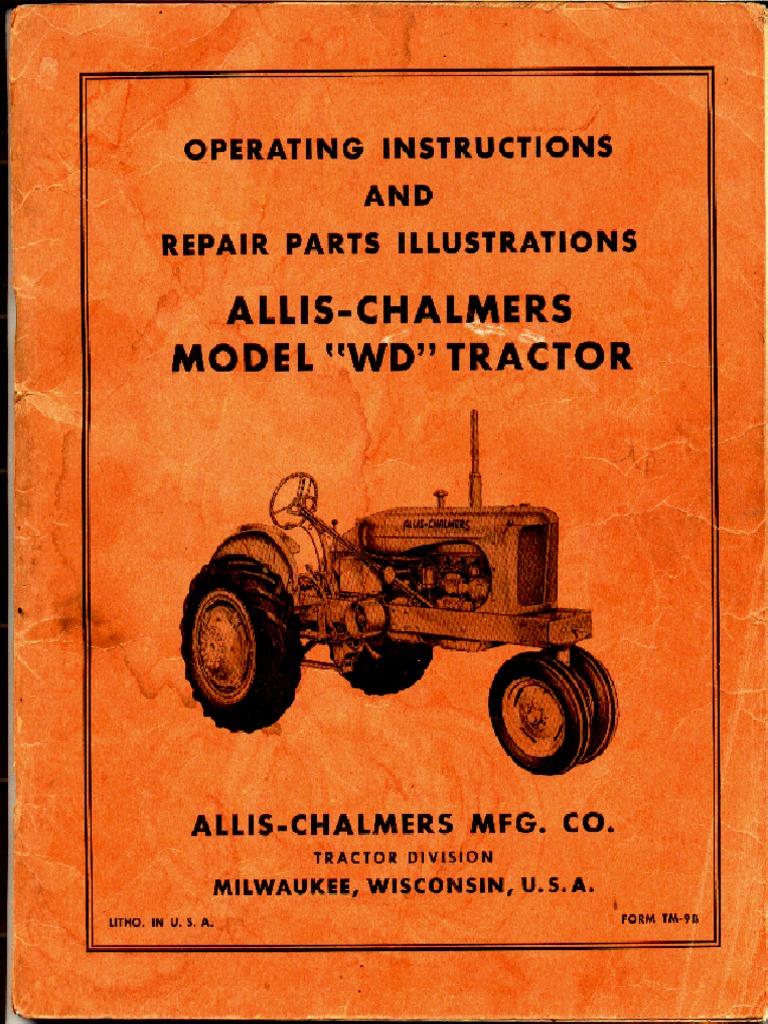 allis chalmers wd factory service manual clutch carburetor