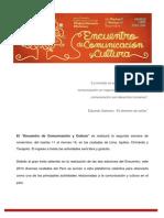 Desarrollo del Encuentro de Comunicación y Cultura Perú 2014
