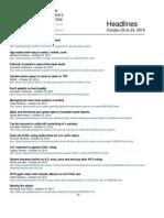CCA Headlines October 20 to 24, 2014