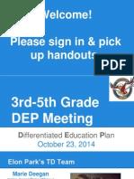 3rd-5th grade dep meeting