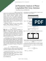 Resonance and Parametric Analysis of Planar Broad-Wall Longitudinal Slot Array Antennas