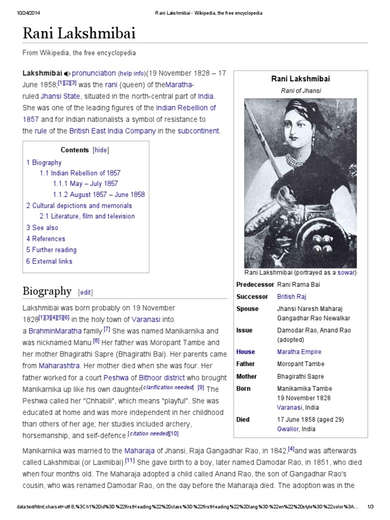 rani lakshmi bai history in english