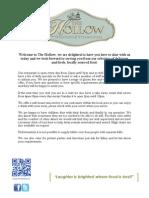 hollow main menu with new wine list