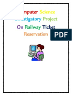Computer Science Investigatory Project on Railway Ticket Reservation for Class 12