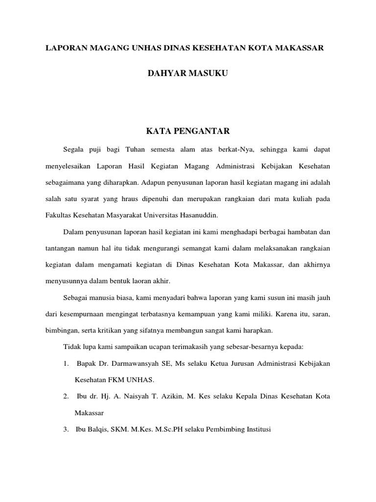 Contoh Laporan Magang Unhas Dinas Kesehatan Kota Makassar