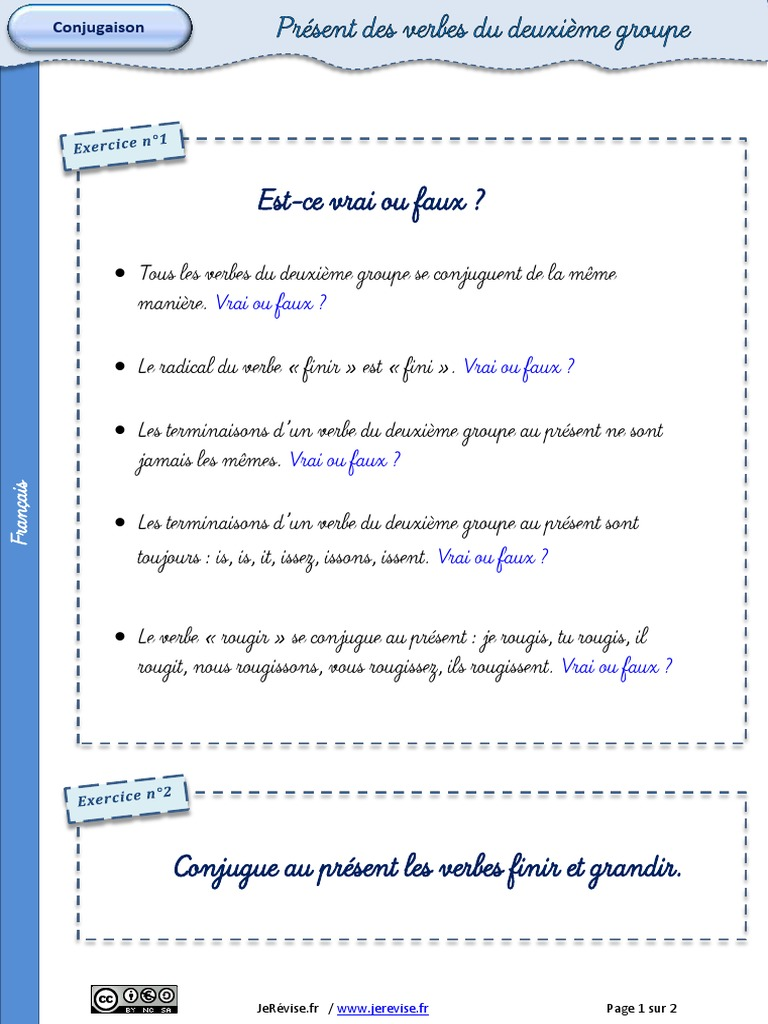Exercices Present Verbes Deuxieme Groupe Pdf