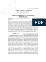 An Analysis of Municipal Solid Waste in Kano Metropolis, Nigeria
