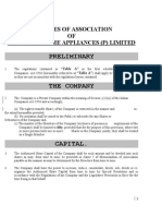 Articles of Association of Purotech Home Appliances (p) Limited