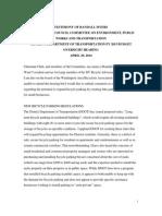 4-29-14 DDOT FY15 Budget Hearing Testimony - Randall Myers