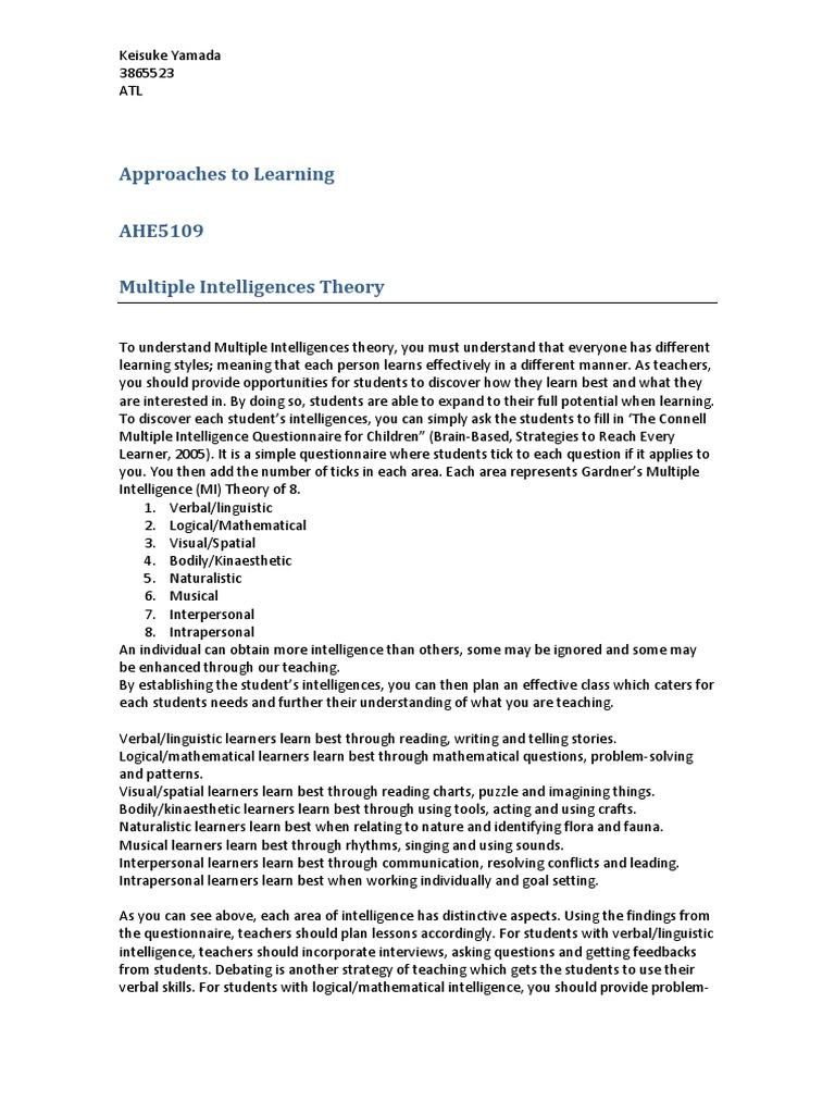 theory of multiple intelligences essay