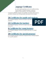 English Language Certificates