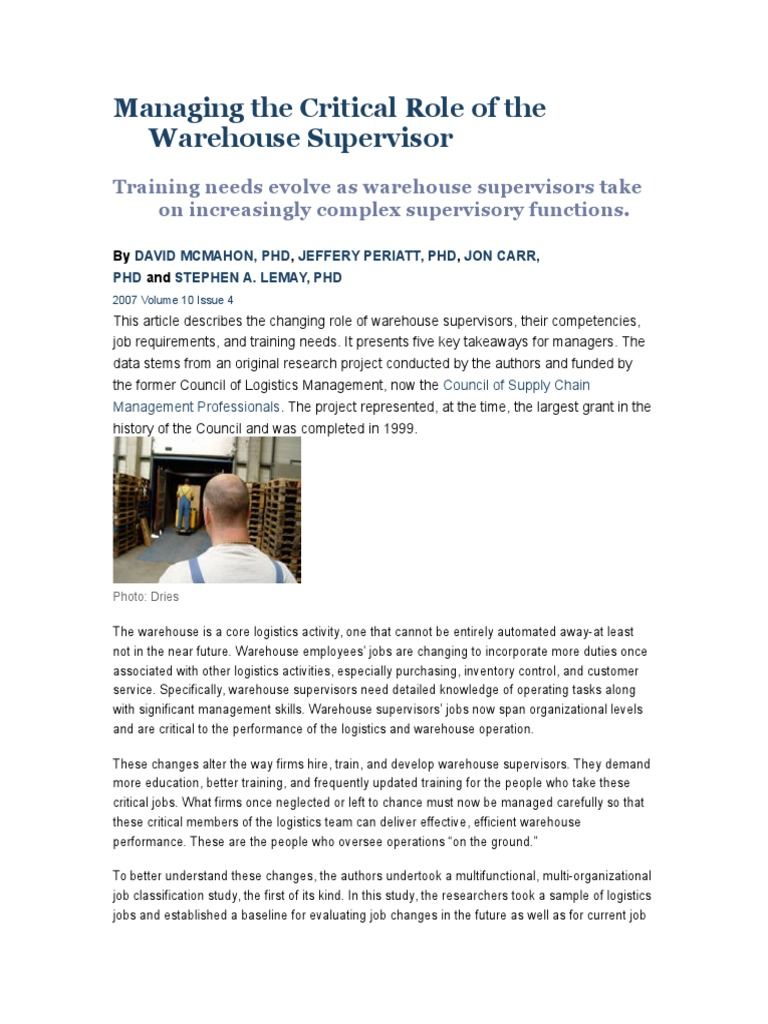 warehouse supervisor responsibilities