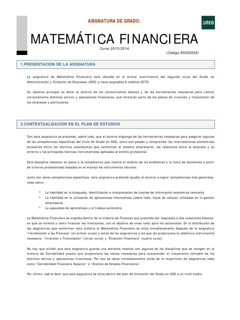 Excepcional Hojas De Trabajo De Matemáticas Financieras Cresta ...