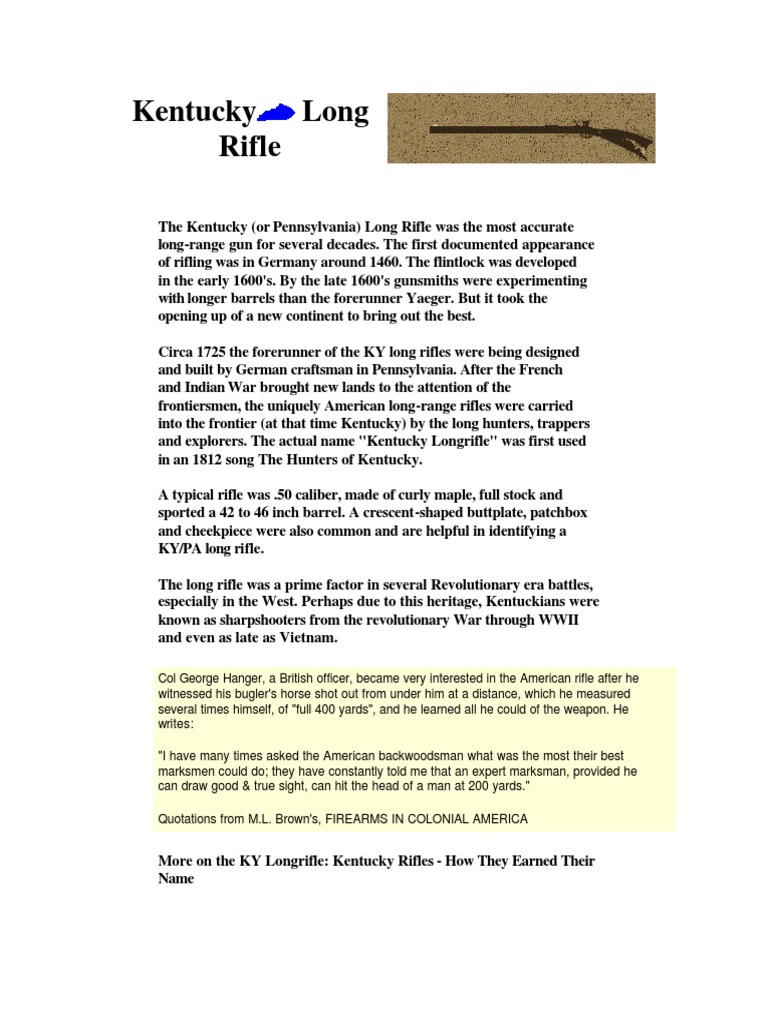 Kentucky-Pennsylvania Long Rifle pdf