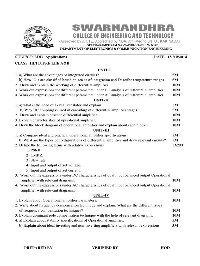 MID-1 LDIC 2014-15 | Amplifier | Operational Amplifier