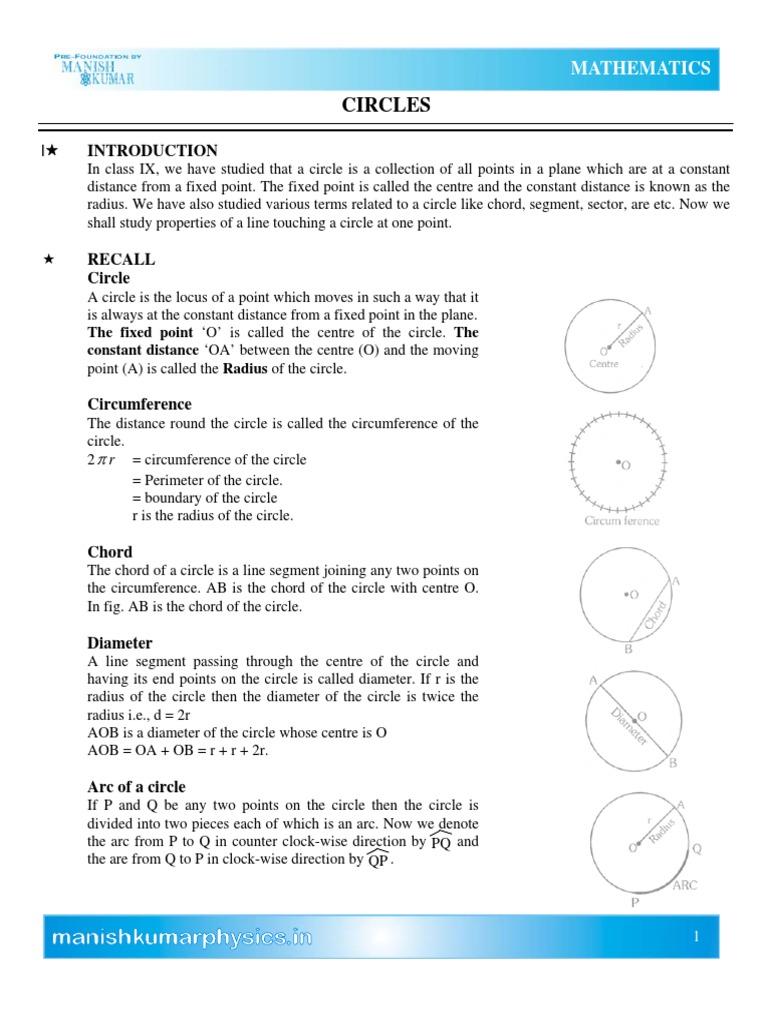 Circles  Circle  Perpendicular