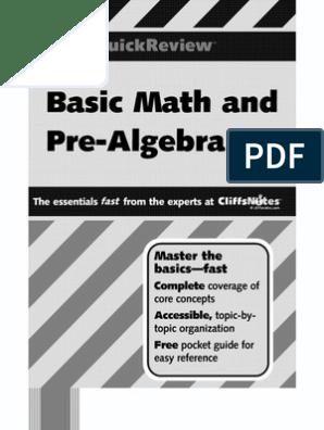 Basic Math and Pre-Algebra - Cliffs Quick Review - J  Bobrow