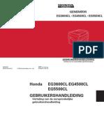 Handleiding en Instructieboekje Honda EG5500CL Aggregaat - Nederlands