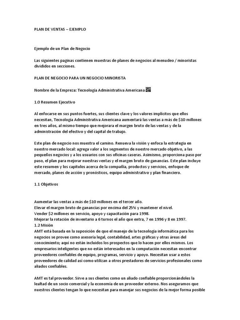 plan de ventas ejemplo docx