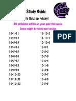 Math Study Guide 10's