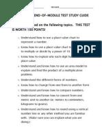 math unit 1 end-of-module test study guide