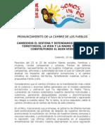 PRONUNCIAMIENTO DE LA CUMBRE DE LOS PUEBLOS