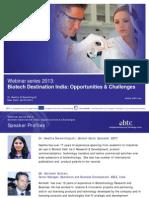 Biotech Destination India Opportunities & Challenges[1]