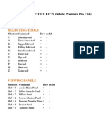 List of Shortcut Keys (Adobe Premiere Pro Cs3)