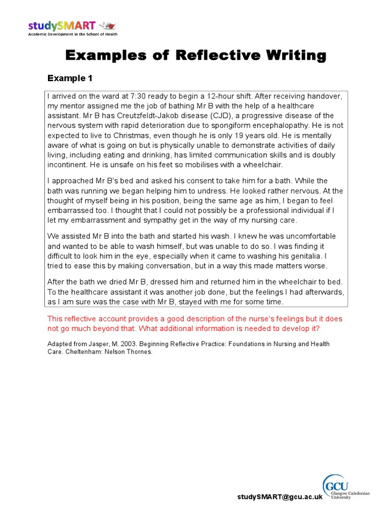 Reflective Writing Examples_annotated 2010_11   Diseases And
