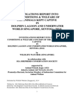 Investigation Report Into the Conditions & Welfare of the Animals Kept Captive in Dolphin Lagoon and Underwater World Singapore, Sentosa (2014)