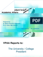 Functions & Responsibilities of the VP for Academic Affairs(1)