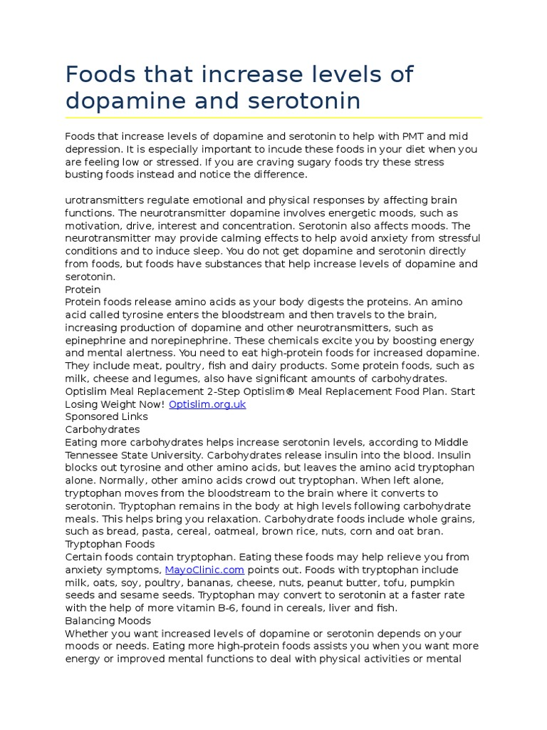 Foods that increase levels of dopamine and serotonin to help