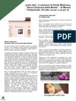 """27 Ottobre 2014 -  """"Amata tela"""", il romanzo di Giulia Madonna. Due Recensioni sui blog """"Nuovi Orizzonti della Mente"""", di Marina Guarneri e su """"Kiukylandia"""""""