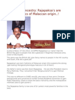 Rajapakse Ancestry Rajapaksa's Are Born Catholics of Malaccan Origin..!