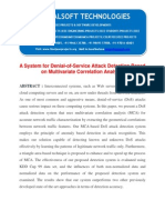 IEEE 2014 JAVA/DOTNET NETWORK SECURITY PROJECT A System for Denial-Of-Service Attack Detection Based on Multivariate Correlation Analysis