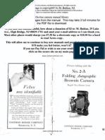 Kodak Folding Autographic Brownie 2-A Manual