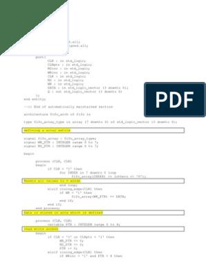 FIFO Program in VHDL