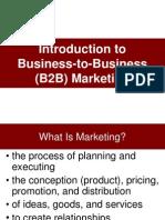 IntBusiness to business marketingroduction to B2B Marheting