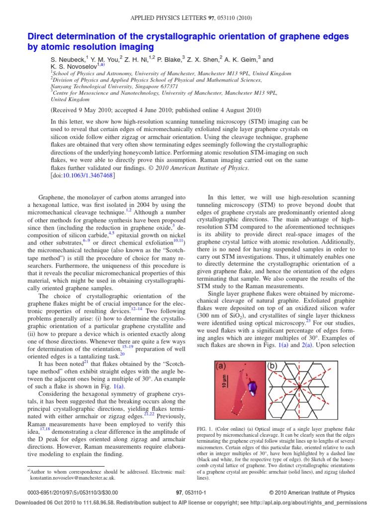 Nobel Prise 2010 Graphene Graphene