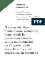 L'énergie du présent (entretien entre Pierre Bal-Blanc, Emile Ouroumov)