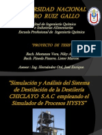 Simulación y Análisis del Sistema de Destilación de la Destilería CHICLAYO  S.A.C  empleando el Simulador de Procesos HYSYS.ppt