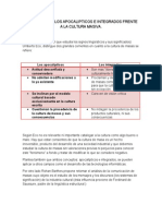 ENSAYO SOBRE LOS APOCALIPTICOS E INTEGRADOS FRENTE  A LA CULTURA MASIVA.doc