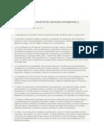 Lineamientos plan sectorial de salud para emergencias y desastresPresentation Transcript.docx