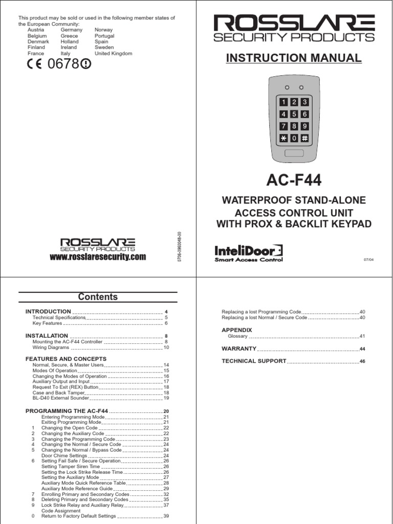 Pdf Rosslare Acf44 Manualpdf Power Supply Access Control Rex Manufacturing Transformer Wiring Diagram