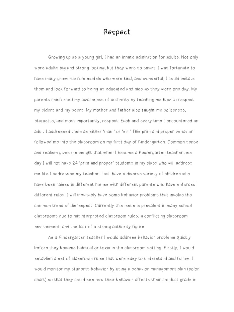 essay on disrespect in class