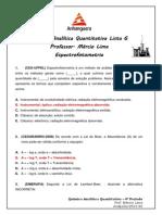 Lista 06 Espectrofotometria - Química Analítica Quantitativa - Anhanguera 4º Período.pdf